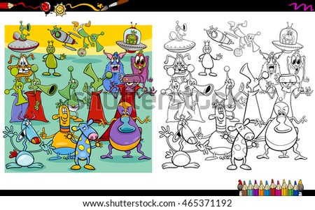 Cartoon Illustration of Alien Characters Coloring Book Activity