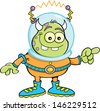 Cartoon illustration of an alien pointing. - stock