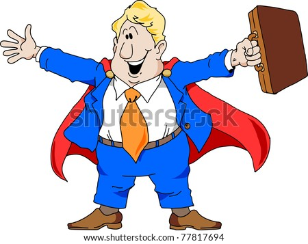 Cartoon illustration of an excited salesman wearing a super hero cape.