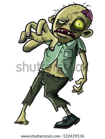 Cartoon illustration of an undead Zombie or reanimated corpse making a grabbing movement with his hand towards the camera isolated on white - stock vector