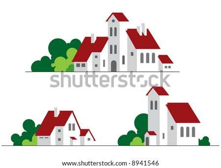 cartoon illustration of buildings at white background - stock vector