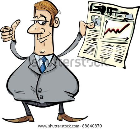 cartoon illustration of businessman with newspaper satisfied for share raises - stock vector