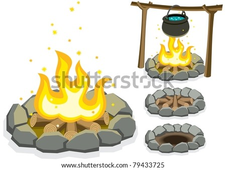 Cartoon illustration of campfire in 4 different situations.
