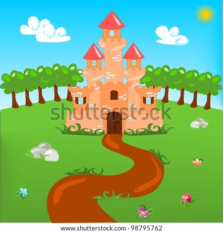 Cartoon illustration of castle with fairytale landscape