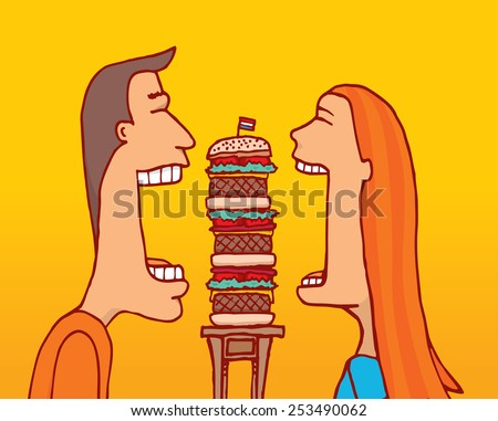 Cartoon illustration of couple sharing a huge hamburger with huge mouth - stock vector