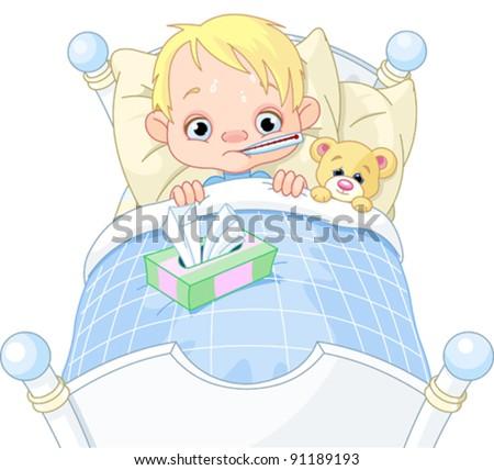 Cartoon illustration of cute sick boy in bed - stock vector