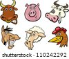 Cartoon Illustration of Different Funny Farm Animals Heads Set: Bull, Pig, Cow, Horse, Sheep and Hen - stock vector