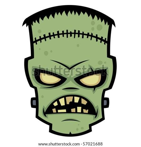 Cartoon illustration of Dr. Frankenstein's living dead zombie monster. - stock vector