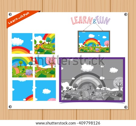 Cartoon Illustration of Education Jigsaw Puzzle Game for Preschool Children with Farm Animals