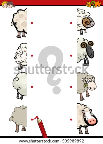 Cartoon Illustration of Educational Activity of Matching Halves with Sheep Farm Animal Characters