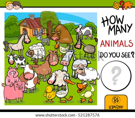 Cartoon Illustration of Educational Counting Math Activity for Children with Wildlife Animal Characters