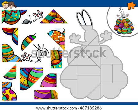 Cartoon Illustration of Educational Jigsaw Puzzle Activity Game for Children with Easter Bunny