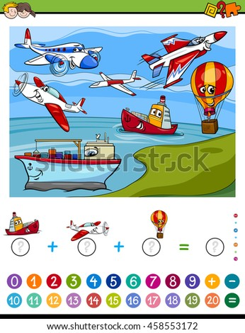 Cartoon Illustration of Educational Mathematical Counting and Addition Activity Task for Children with Planes and Ships