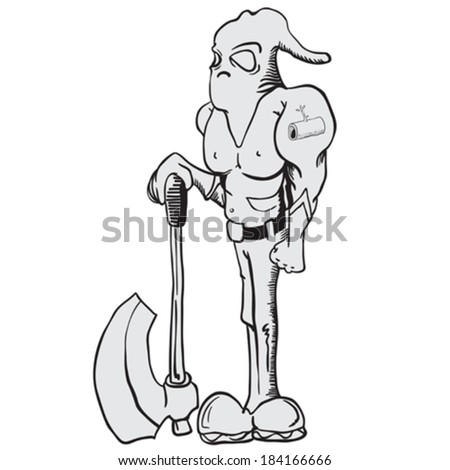 cartoon illustration of executioner with an axe - stock vector