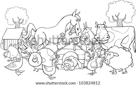 cartoon illustration of farm animals group for coloring group - stock vector
