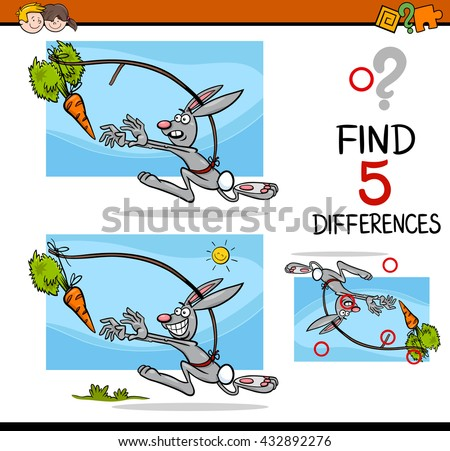 Cartoon Illustration of Finding Differences Educational Activity Task for Preschool Children with Dangling a Carrot Saying - stock vector