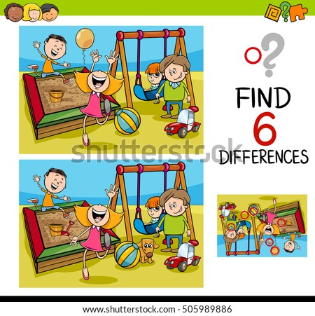 Cartoon Illustration of Finding the Difference Educational Activity for Children with Kids on Playground