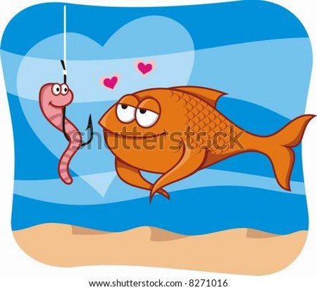 Cartoon illustration of fish in love with the worm bait in hook