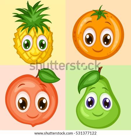 Cartoon Fruit Characters Isolated Vector Stock Vector ...