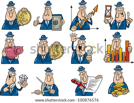 cartoon illustration of funny businessmen collection set - stock vector