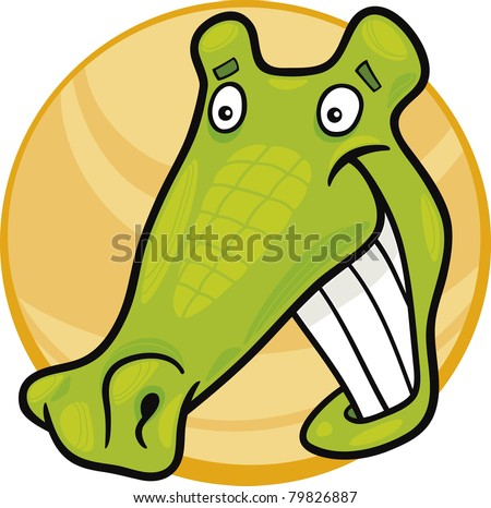 cartoon illustration of funny crocodile