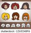 Cartoon Illustration of Funny People Set with Women Heads plus Black and White versions - stock vector