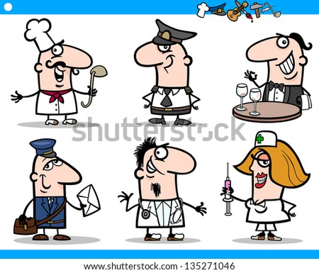 Cartoon Illustration of Funny Professional People Occupations Characters Set - stock vector