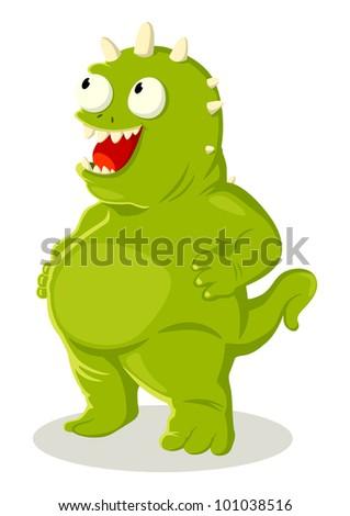 Cartoon illustration of green monster - stock vector