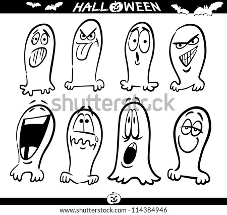 Cartoon Illustration of Halloween Themes, Ghosts Emotions Funny Set for Coloring Book or Page - stock vector