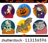 Cartoon Illustration of Halloween Themes, Vampire, Zombie, Witch, Werewolf, Pumpkin and Bat Funny Set - stock vector