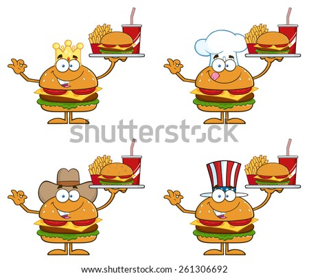 Cartoon Illustration Of Hamburger Characters 2.  Vector Collection Set Isolated On White - stock vector