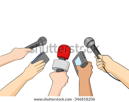 Cartoon illustration of hands holding microphones and recorders, journalism or press symbol - stock vector