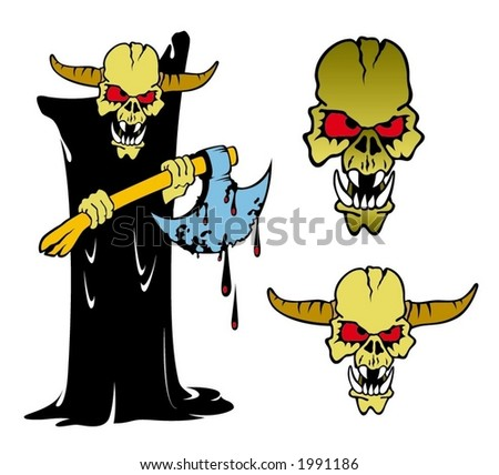cartoon illustration of hornhead monster with axe - stock vector