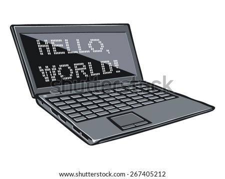 Cartoon illustration of laptop with text on its screen