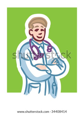 Cartoon illustration of male doctor smiling with stethoscope crossing arms against green background - stock vector