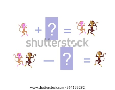 Cartoon illustration of mathematical addition and subtraction. Examples with funny monkeys. Educational game for children. - stock vector