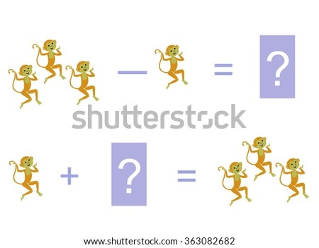 Cartoon illustration of mathematical addition and subtraction. Examples with monkeys. Educational game for children. - stock vector
