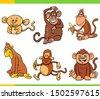 cartoon illustration of monkeys ...
