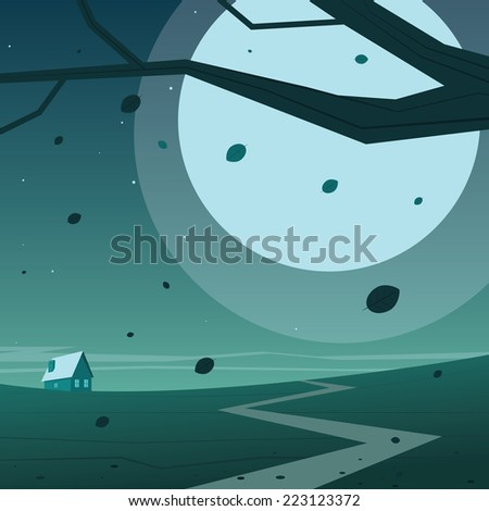 Cartoon illustration of night landscape with house. - stock vector