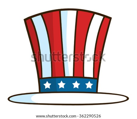 Cartoon Illustration Of Patriotic American Top Hat. Vector Illustration Isolated On White - stock vector