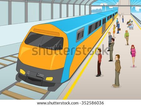 Cartoon illustration of people waiting at the train station. Mass Rapid Transport, transportation, urban theme. - stock vector