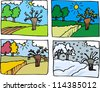 Cartoon Illustration of Rural Landscape in Four Seasons: Spring, Summer, Autumn or Fall and Winter - stock vector