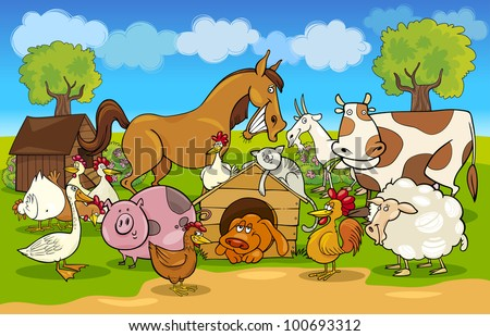 cartoon illustration of rural scene with farm animals group - stock vector