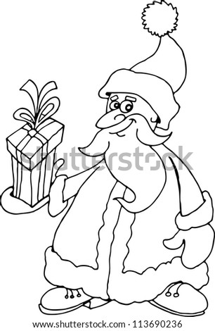 Cartoon Illustration of Santa Claus or Father Christmas or Papa Noel with Present for Coloring Book or Page