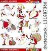 Cartoon Illustration of Santa Clauses, Christmas Elf and other Themes set - stock photo