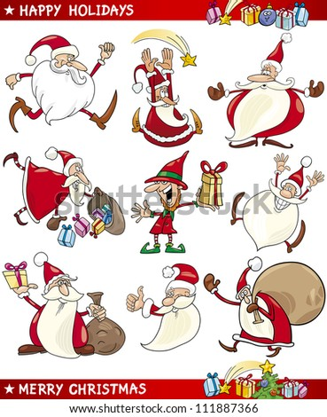 Cartoon Illustration of Santa Clauses, Christmas Elf and other Themes set - stock vector
