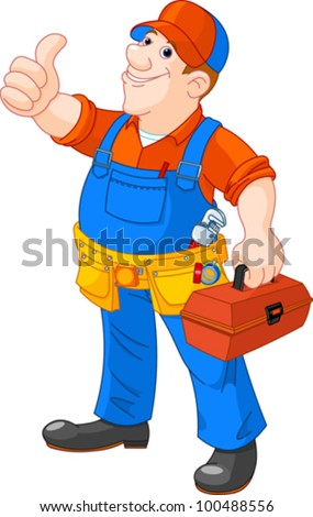 Cartoon illustration of  serviceman holding tool box