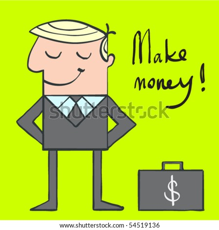 cartoon illustration of the millionaire with suitcase with money - stock vector