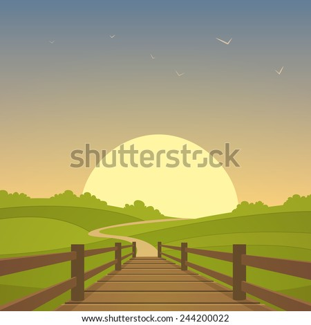 Cartoon illustration of the rural landscape with wooden bridge and sun in background. - stock vector