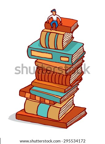Cartoon illustration of tiny man sitting in pile of books building education - stock vector